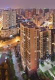 Aerial view on the density of Shanghai in the evening. Aerial view on the density of Shanghai inner city in the evening royalty free stock images