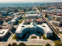 Aerial view of Denver city hall and County Building stock image