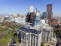 Aerial View of Denver Colorado Capital Building and Downtown Denver Stock Photography