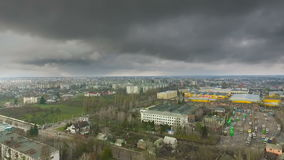 Aerial view at depot factory and storm clouds in spring. Aerial view at depot factory and storm clouds in the spring stock footage