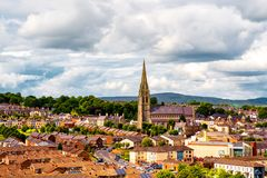 Aerial view of Derry Londonderry city center in Northern Ireland, UK. Derry, North Ireland. Aerial view of Derry Londonderry city center in Northern Ireland, UK royalty free stock image