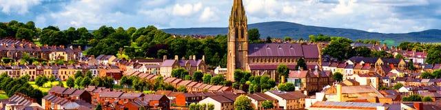 Aerial view of Derry Londonderry city center in Northern Ireland, UK. Derry, North Ireland. Aerial view of Derry Londonderry city center in Northern Ireland, UK stock photos