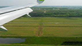 Aerial view from descending airplane stock footage