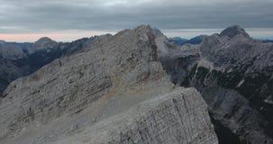 Aerial view of descending towards mountain ridge. stock footage