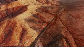Aerial panorama of desert landscape, Fuerteventura stock video