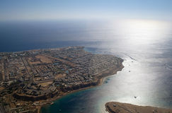 Aerial view desert and sea Royalty Free Stock Photography