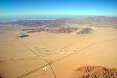 Aerial view desert and sea Stock Photo