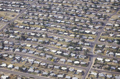 Aerial view of desert suburban homes in Tucson, Arizona Royalty Free Stock Images