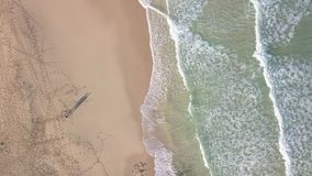 Aerial view of deserted beach stock footage