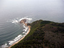 Aerial view of deserted coastline royalty free stock photos