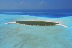 Aerial view of dessert island - uninhabited island. In Male Atoll, Maldives Royalty Free Stock Images