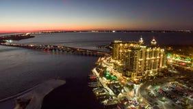 Aerial view of Destin skyline at night, Florida Royalty Free Stock Photo