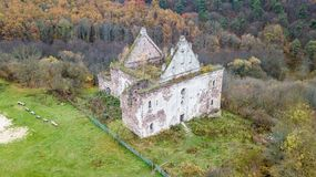 Aerial view on destroyed church on the hill.  Royalty Free Stock Photo