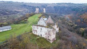 Aerial view on destroyed church on the hill.  Stock Photography