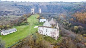 Aerial view on destroyed church on the hill.  Royalty Free Stock Images