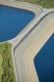 Aerial view : Detail of a barrage with 2 lakes Stock Images