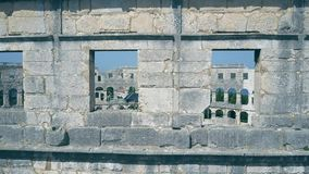 Aerial view of details of the Pula Arena, famous ancient Roman amphitheatre in Croatia Stock Photography