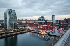 Aerial view Detroit Bridge Manchester UK. This bridge in the redeveloped dock area of Salford was originally a swing railway bridge over the Manchester Ship Stock Image