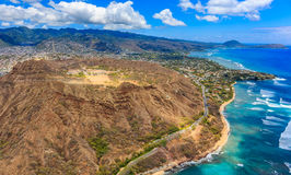Aerial view of Diamond Head volcano crater in Honolulu Hawaii. Aerial view of Diamond Head volcano crater on the island of Oahu, in Honolulu Hawaii, from a Stock Image