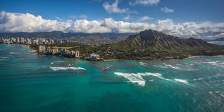 Aerial View Diamond Head and Waikiki  Stock Photo