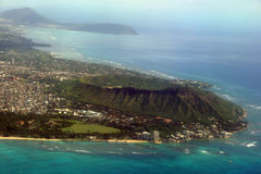 Aerial view of Diamondhead, Kapiolani Park, Waikiki, Natatorium, Royalty Free Stock Images