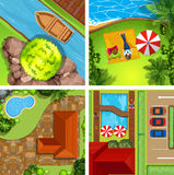 Aerial view of different scenes of parks Stock Image