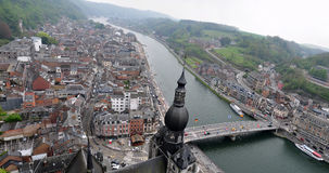 Aerial view of Dinant city, Meuse river & Collegiale Notre Dame de Dinant. Aerial view of Dinant city, Meuse river & The Collegiate Church of Our Lady &#x28 Stock Images