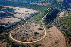 Aerial view of a dirt road Stock Image