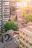 Aerial view of dirty city slum with old unfunctional ground cable car way in Chongqing, China Royalty Free Stock Image