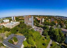 Aerial view of the district Bruck of the city of Erlangen in Bavaria Royalty Free Stock Images