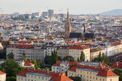 Aerial view of the district Landstrasse with the St.Othmar Church in the center. Vienna, Austria Royalty Free Stock Images
