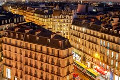 Paris. Aerial view at night. Royalty Free Stock Photography