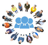 Aerial View of Diverse People and Character Symbol.  Stock Photos