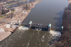 Aerial view of the diversion dam on Odra river Stock Photos