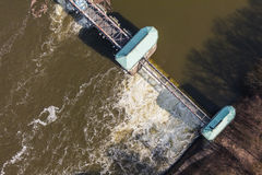 Aerial view of the diversion dam on Odra river Stock Images