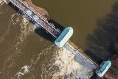 Aerial view of the diversion dam on Odra river Royalty Free Stock Images