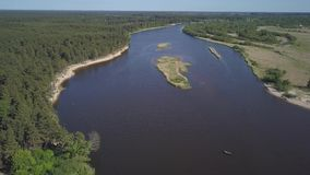 Gauja river Latvia drain into Baltic Sea aerial drone top view 4K UHD video. Aerial view DJI pro drone top view 4K UHD video stock video footage