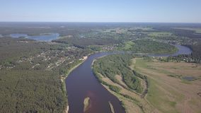 Gauja river Latvia drain into Baltic Sea aerial drone top view 4K UHD video. Aerial view DJI pro drone top view 4K UHD video stock video