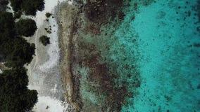 Sea beach coast Bonaire island Caribbean sea aerial drone top view 4K UHD video. Aerial view DJI pro drone top view 4K UHD video stock video footage