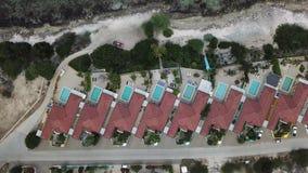 Villa beach coast Bonaire island Caribbean sea aerial drone top view 4K UHD video. Aerial view DJI pro drone top view 4K UHD video stock video