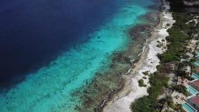 Villa beach coast Bonaire island Caribbean sea aerial drone top view 4K UHD video stock video footage