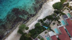 Villa beach coast Bonaire island Caribbean sea aerial drone top view 4K UHD video. Aerial view DJI pro drone top view 4K UHD video stock footage
