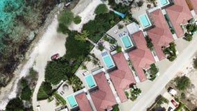 Villa beach coast Bonaire island Caribbean sea aerial drone top view 4K UHD video stock video