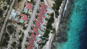 Villa beach coast Bonaire island Caribbean sea aerial drone top view 4K UHD video stock footage
