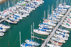 Aerial view of a dock full of boats Royalty Free Stock Photos