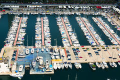 Aerial view of docked yachts in Port Olimpic. Barcelona Royalty Free Stock Images