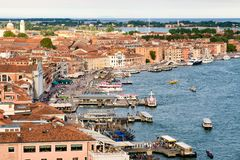 View of the docks near St Marks Square in Venice, Italy. Aerial view of the docks near St Marks Square in Venice, Italy stock image