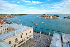 Aerial view of the Doge Palace ,Piazza San Marco and the city of Venice Royalty Free Stock Image