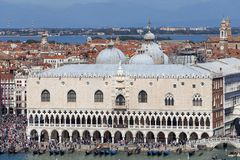 Aerial view on Doge`s Palace Palazzo Ducale on St Mark`s Square, Venice, Italy. VENICE, ITALY - SEPTEMBER 21, 2017: Aerial view on Doge`s Palace Palazzo Ducale stock photo