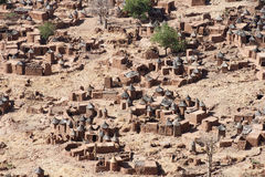 Aerial view of a Dogon village, Mali (Africa). The principal Dogon area is bisected by the Bandiagara Escarpment Stock Images